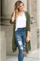 Army Green Lace Patchwork Cardigans