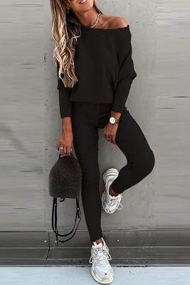 Black Printed Off Shoulder Long Sleeve Two Piece Pants Set