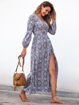 Blue Split V Neck Boho Dresses