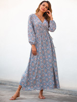 Light Blue Split V Neck Boho Dresses