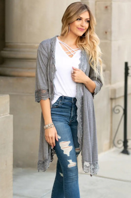 Gray Lace Patchwork Cardigans