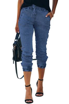 Blue Elastic Pocket Drawstring Washing Jeans