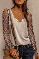 Mid-length Pullover Long Sleeved Sequined Khaki Tops