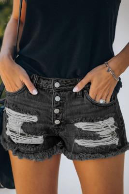 Black Gypsy Mid-rise Distressed Denim Shorts