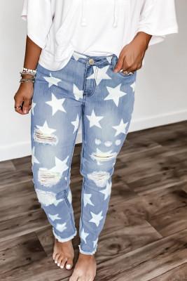 Ripped Star Print Mid Waist Jeans