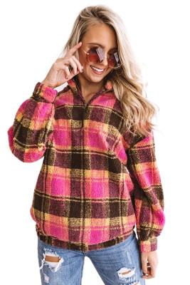 Red Plaid Zipper Stand Collar Sherpa Pullover Sweatshirt