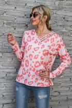 Pink Leopard Print V-neck Off Shoulder Long Sleeved Tops