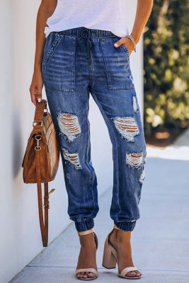 Blue Pocketed Distressed Denim Joggers