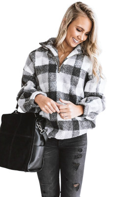 White Plaid Zipper Stand Collar Sherpa Pullover Sweatshirt