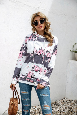 White Floral Print With Pockets Hoodies