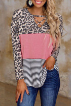 Pink Leopard Hollow Out Tops