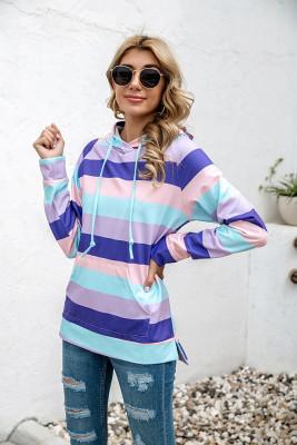 Purple Striped Print With Pockets Hoodies