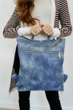 Blue Front Pockets Backpack