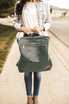 Army Green Front Pockets Backpack