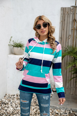 Green Striped Print With Pockets Hoodies
