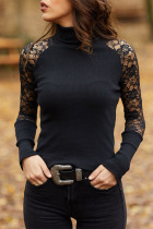 Black Lace Patchwork High Collar Tops
