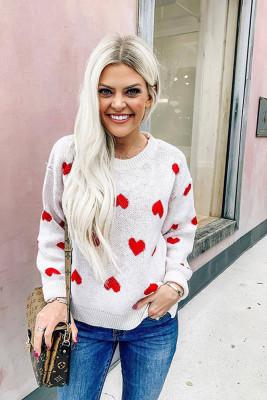 White Heart Shape Print Sweet Sweaters