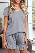 Gray V Neck Short Ruffle Loungewear