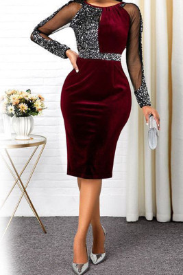 Wine Red Sequin Patchwork Long Sleeve Dresses