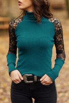 Green Lace Patchwork High Collar Tops