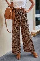 Khaki Leopard Print Lace-up Wide-leg Trousers