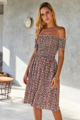 Brown Off Shoulder Floral Midi Dress