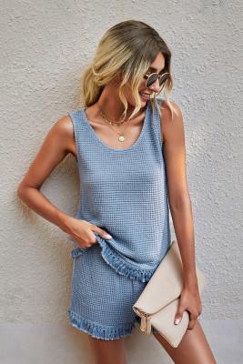 Blue Solid Color Tassel Vest Two-piece Set