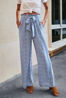 Blue Leopard Print Lace-up Wide-leg Trousers