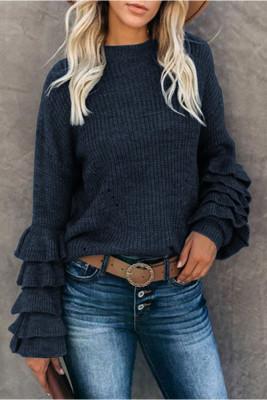 Blue Flower Sleeve Sweaters