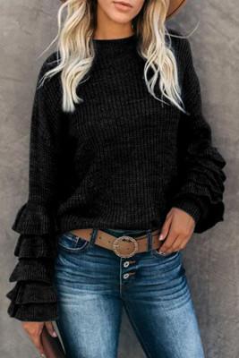 Black Flower Sleeve Sweaters