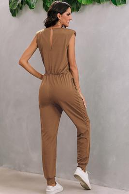 Khaki Shoulder Padding Sleeveless Jumpsuit