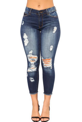 Blue Hollow Out Jeans