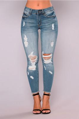 Light Blue Hollow Out Jeans