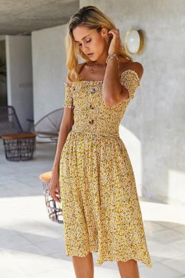 Yellow Off Shoulder Floral Midi Dress