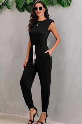 Black Shoulder Padding Sleeveless Jumpsuit