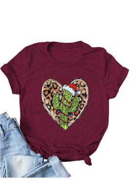 Wine Red Leopard Heart Shape T-shirts