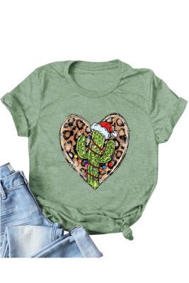 Green Leopard Heart Shape T-shirts