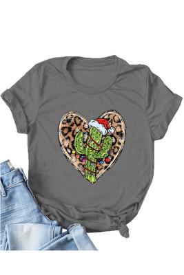 Dark Gray Leopard Heart Shape T-shirts