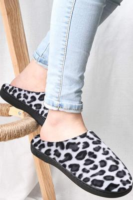 Black Warm Leopard Print Cotton Slippers