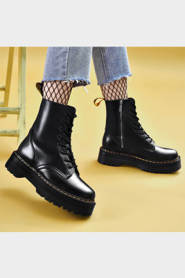 Black 8 Hole Leather Thick Sole Side Zipper Martins