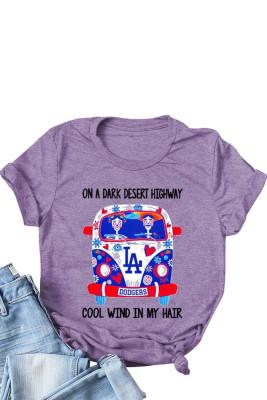 Purple Bus Skull Print T-shirts