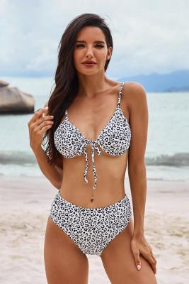 Leopard Print High Waist Bikini Set