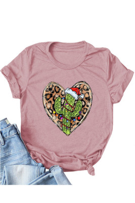 UNISHE Gold Leopard Heart Shape T-shirts