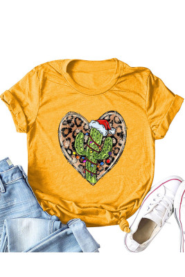 Orange Leopard Heart Shape T-shirts