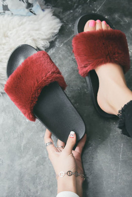 Wine Red Non-slip Thermal Slippers