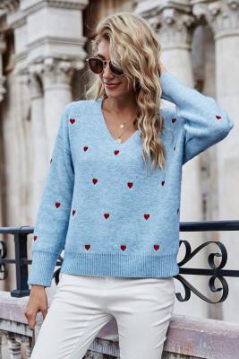 Blue V Neck Heart Shape Sweaters