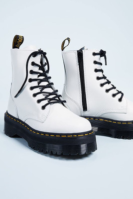 White 8 Hole Leather Thick Sole Side Zipper Martins