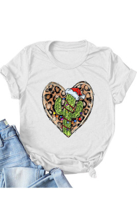 UNISHE Gray Leopard Heart Shape T-shirts