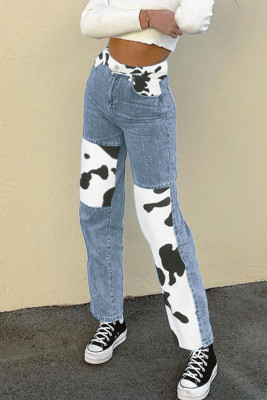 Blue Cow Color Block Straight-leg Pants