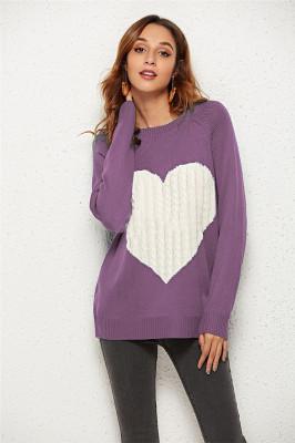 Purple Heart Shape Sweaters